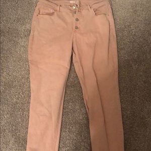 Pink button up skinny jeans